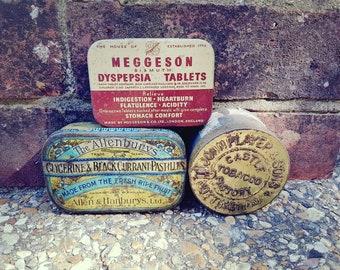 Collection of vintage tins. Vintage Medicinal tin,vintage tobacco tin,vintage pastille tin.Made in the UK.Antique tins, vintage storage tins