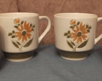 Bellegay Ironstone Daisy Flower Coffee Mugs Set of 4 Stacking Mugs