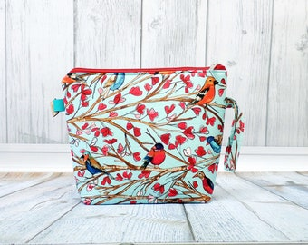 Birds and branches Large Clutch Project Bag, Cross Stitch Project Bag, Large Wedge Zipper Bag for Knitting and Crochet.Padded Bag