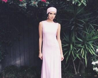 Jackie Maxi | 1960s Vintage Sleeveless Pink Linen Princess Seam Maxi Dress with Sash | Size XS/S