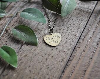 Positive Vibes Necklace - Custom Heart Necklace - Positivity Necklace