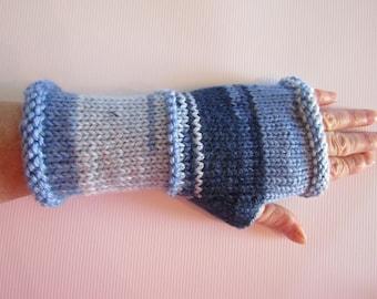 Finger-less Gloves, Blue Finger-less Gloves, Arm Warmers in Blue,  Women's Gift, Crochet Finger-less Gloves