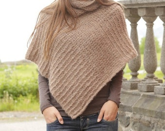 Women handmade hand knit poncho / cape / wrap in alpaca wool and silk blend with collar, sizes S/M-M/L-L/XL-XXL/XXXL