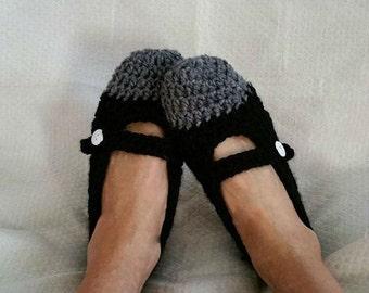 Crochet Mary Jane Slipper Womens PDF Pattern Only