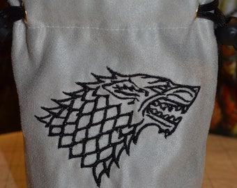 Dice Bag custom Embroidery Suede Light Gray game of thrones Stark