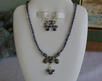 Dainty Blue Iolite beaded necklace  -  81