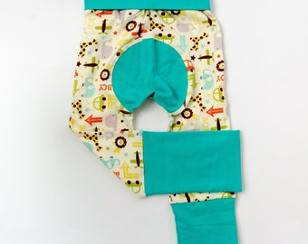 Elephant and Car and Dark Mint Baby Big Butt Pants - Grow with me pants - Cloth diaper friendly - Toddler - Gift