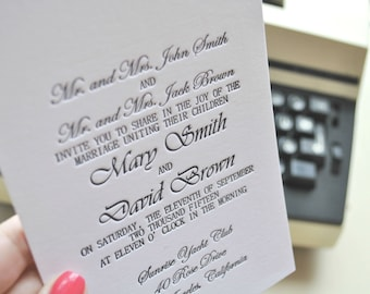 Custom letterpress wedding invitations; letterpress RSVP cards, letterpress save the date cards