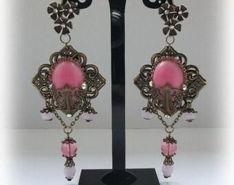 Pink victorian earrings, pink earrings, victorian jewelry, pink jewelry, baroque earrings, baroque jewelry