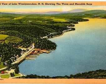 Vintage New Hampshire Postcard - Aerial View of Lake Winnipesaukee (Unused)