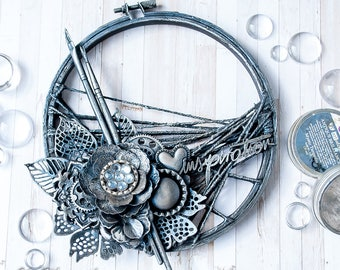 Home decor - mixed collage on hoop - Blue - Silver