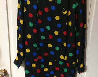 Saks Fifth Avenue 1980s Vintage Polka Dot 100% Silk Dress