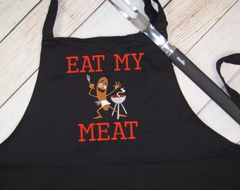 Funny Mens Apron, Funny Apron For Men, Chef Apron Men, Eat My Meat Apron, Kitchen Apron, Apron For Mens BBQ, Housewarming Gift, Gift for Him