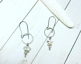 Herkimer Diamond and Swarovski Crystal Drop Earrings