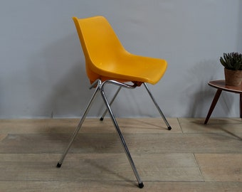 "Chair Chair vintage chrome metal ""style Robin Day polyprop"" orange France metal chair cushion"