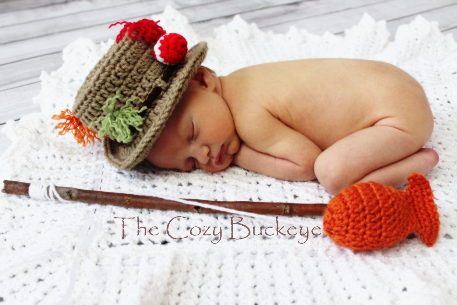 Instant Download Crochet Pattern Fisherman Hat and Fish Set