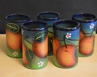 Set of 5 Hand Blown Mexican 16 oz Tumblers, Painted Glass Hand Decorated, Pontil Mark, Orange Design, Blue Rim