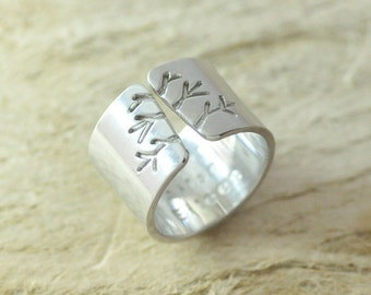 Grandma Gift 925 Sterling Silver ring  Autumn Tree Ring,Wide Band Ring, Name Ring,Metalwork Jewelry couples gift