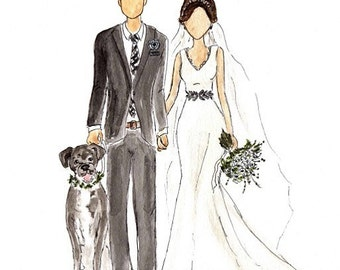 Illustrated Wedding Portrait. Bridal Sketch. Bride and Groom Commemorative Gift. Hand Painted Wedding Dress. Wedding Portrait with Dog