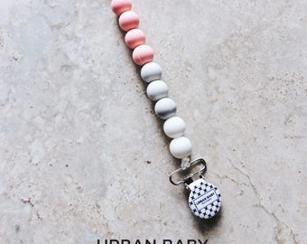 Pacifier Clip, Silicone Pacifier Clip, Teether, Silicone Beads, Food Grade, Chewelry, Brooklyn, Pink Quartz, White, Marble