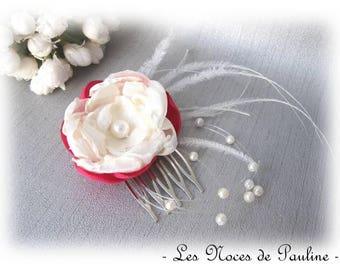 "Fuchsia ivory wedding flower comb ""Les Textiles"" Camellia"