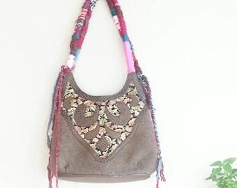 Vintage Shabby Chic Purse,  Vintage Shoulder Bag, Boho Chic  Vintage Bag, Bohemian, Hippie Look, Gypsy, Boho Style, Hipster