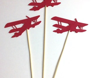 Large Red Vintage style airplane Table decor, Centerpiece, decorative accessory, 12 per order