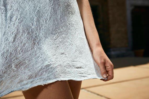 silk mulberry wool dress extrafine chiffon felted Silk Nuno merino wq8fTH