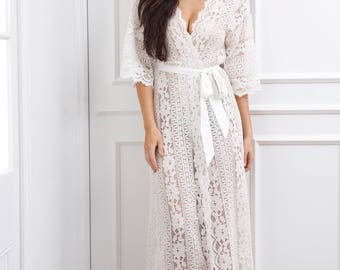 Willow Boho Lace Maxi Robe // Bridal Robe // Lace Robe // Long Robe // Wedding Robe // Pre-wedding Robe // Luxurious Robe