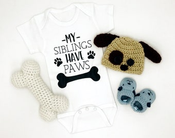 My Siblings Have Paws / Baby Bodysuit / Baby Boy / Baby Girl / Unisex Baby Clothing / Baby Gift / Baby Shower / Dogs