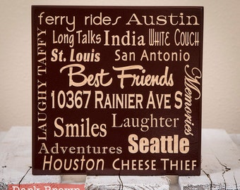 Espresso Painted Personalized Word Collage Engraved on Wood-Espresso Word Art-Espresso Wall Art-Custom Wall Art