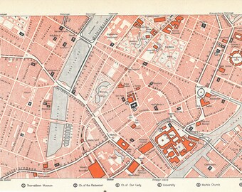 1963 Copenhagen Denmark Vintage Map