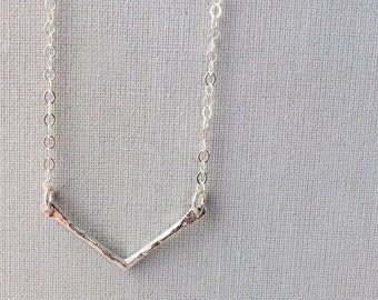 Hammered Chevron Necklace • Delicate • Layering Necklace • Chevron • Minimal • Tiny • Sterling Silver • Dainty Silver Necklace • Simple