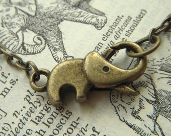 Baby Elephant Necklace Tiny Antiqued Brass Bronze Rustic Finish Fashion Jewelry Clasp Trunk Up For Good Luck