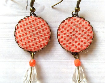Fancy earrings, fabric earrings, fabric earrings, gift for you, party dresses, romantic earrings, flowers earrings