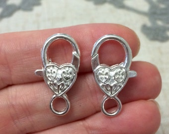 Large Heart Lobster Clasp Closure Set of 2 DIY Jewelry Supply Unique Findings and Supplies - 25mm