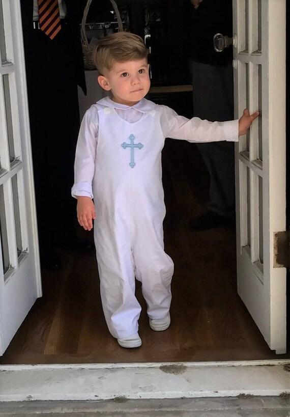 Boys Monogrammed White Longall, Monogram or Embroidered Cross, Monogrammed Jon Jon, Monogrammed Romper, Boys Shortall, Baptism outfit
