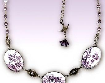 Cottage Chic Plum Victorian Necklace - Glass Cabochon - Romantic Victorian Garden Collection  - Purple Passion English Garden