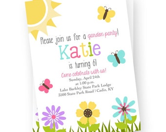 Garden Party Invitation, First Birthday Invitation, Spring Birthday Invitation, Garden Birthday Invitation, Flower Garden Invitation