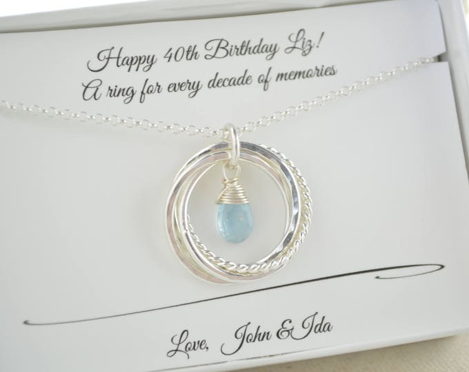 40th Birthday gift for women, March birthstone necklace, Aquamarine birthstone necklace, 4th Anniversary gift, 4 Interlocked rings necklace
