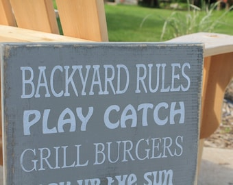 Backyard Rules Sign Primitive Typography subway sign 12x24