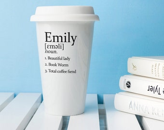 Personalised Definition Ceramic Eco Cup - Gift for Her, Gift For Him - Made to Order - Custom - All About You Cup - Travel Mug - To Go Cup