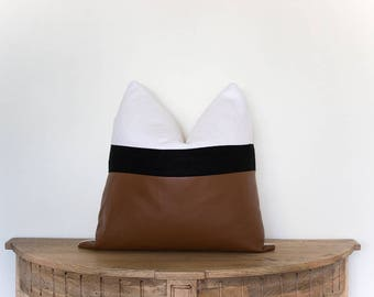"18x18 Faux Leather and Linen Pillow Cover The ""Cleba"""