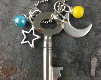 Skeleton Key Necklace with Moon and Star Charms