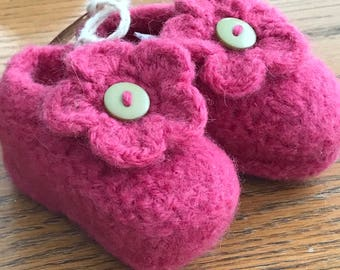Hand knit Felted Baby Bootie