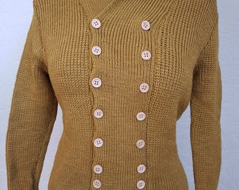 1940's pattern knitted jacket - mustard