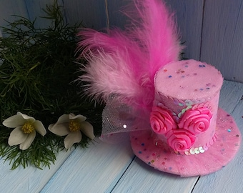 Mini Top Hat Headband Birthday Hat Pink Mini Top Hat Mad Hatter Mini Hat Tea Party Hat Alice in Wonderland Top Hat Fascinator Baby Shower