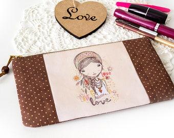 Zipper small cosmetic bag pouch Knitting notions bag case Girlfriend gift Brown makeup bag Teens birthday Girl print Purse organizer