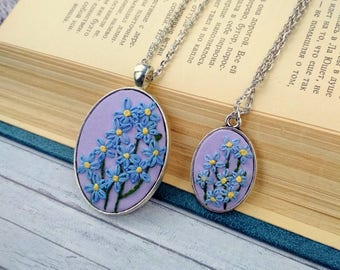 Mother Daughter necklace set Forget me not necklace Embroidered jewelry Blue necklace Embroidery jewelry gift|for|mom Flower necklace