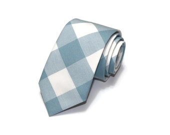 Dusty Blue Buffalo Plaid Necktie~Anniversary Gift~Wedding Tie~Boys Necktie~Mens Necktie~Wedding~Mens Tie~Boys Tie~Mens Gift~Fog Gingham